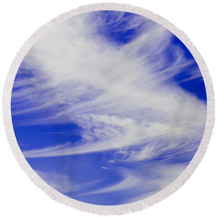 Round Beach Towel featuring the photograph Whispy Clouds by Brian Jordan
