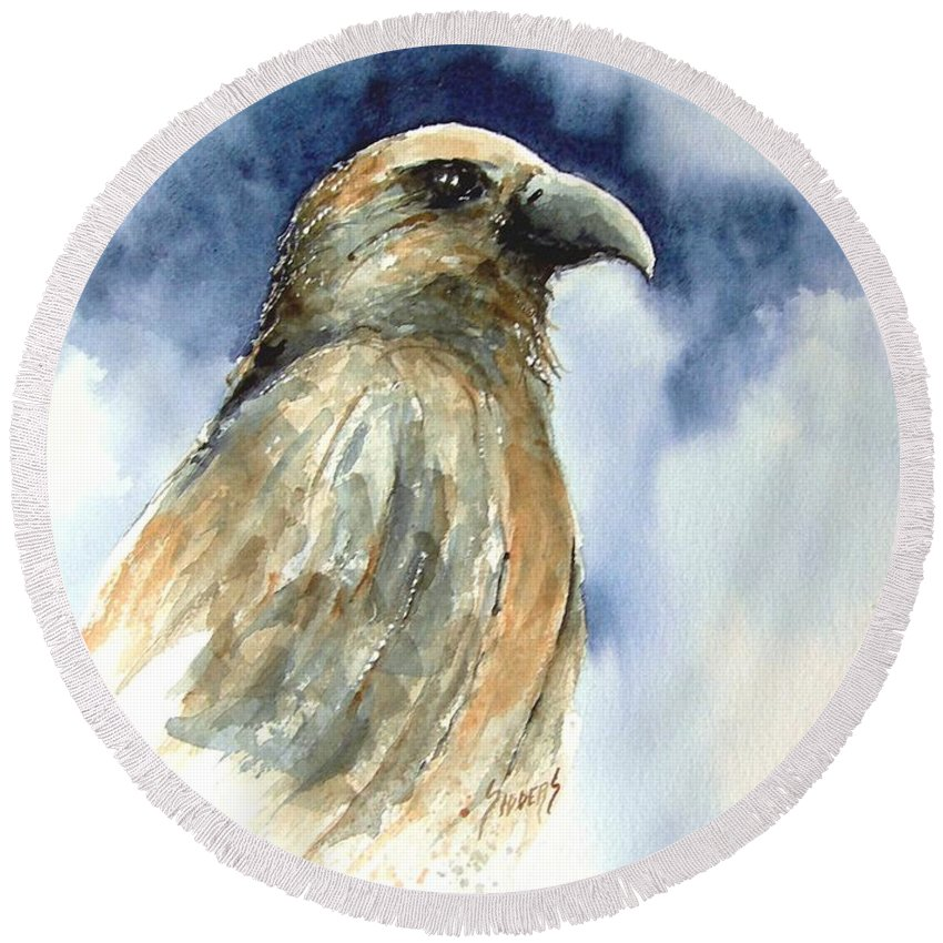 Falcon Round Beach Towel featuring the painting Whistler by Sam Sidders