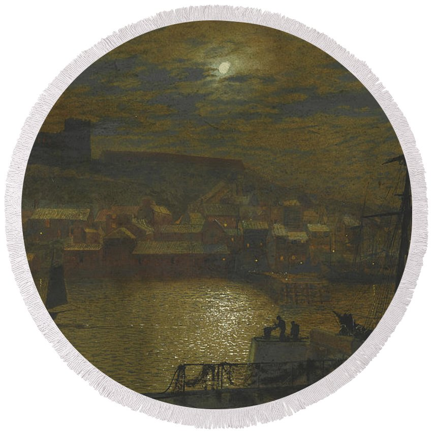 Grimshaw Round Beach Towel featuring the painting Whitby From Scotch Head Moonlight On The Esk by John Atkinson Grimshaw