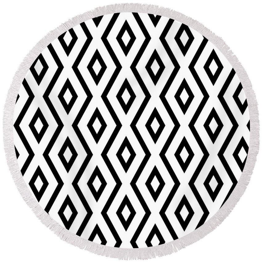 White And Black Round Beach Towel featuring the mixed media White And Black Pattern by Christina Rollo