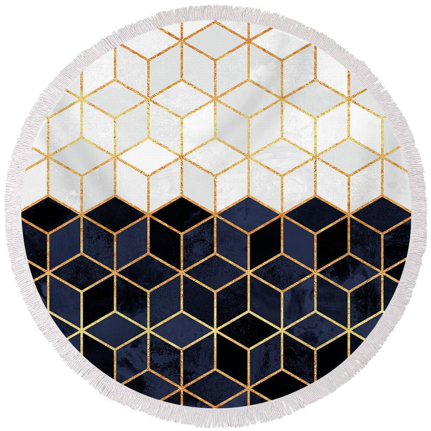 Graphic Round Beach Towel featuring the digital art White And Navy Cubes by Elisabeth Fredriksson