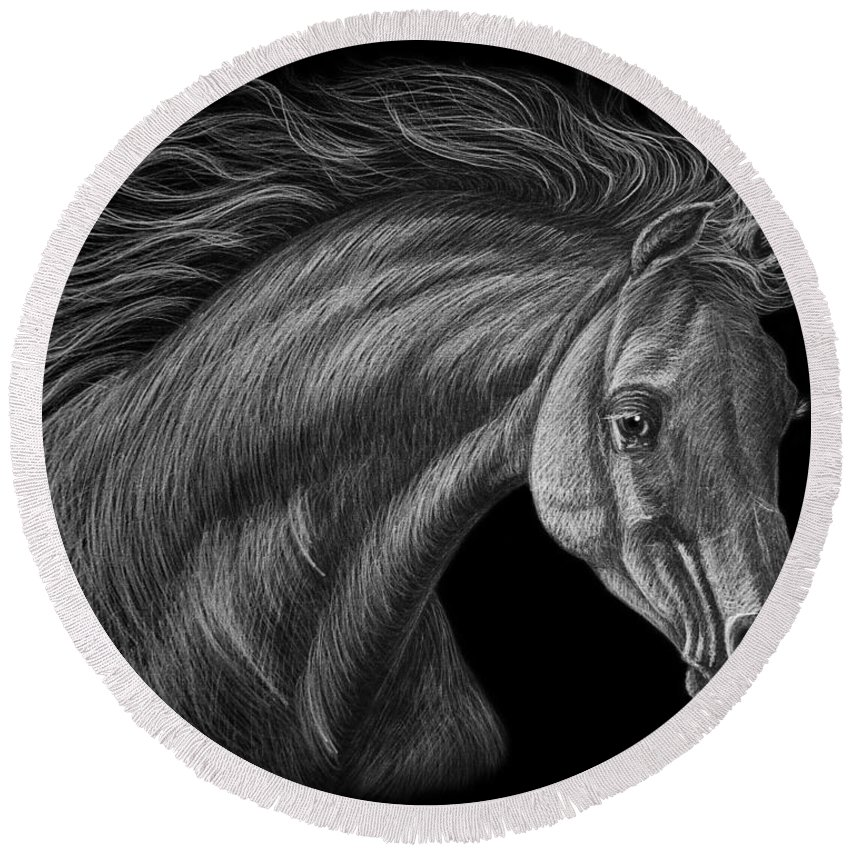 Horse Round Beach Towel featuring the drawing White Arabian by Dale Crum