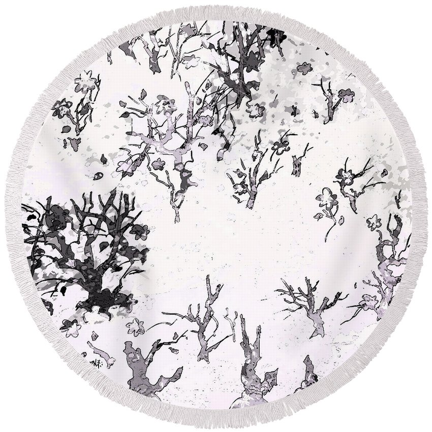 Abstract Round Beach Towel featuring the digital art White As Snow by Rachel Christine Nowicki