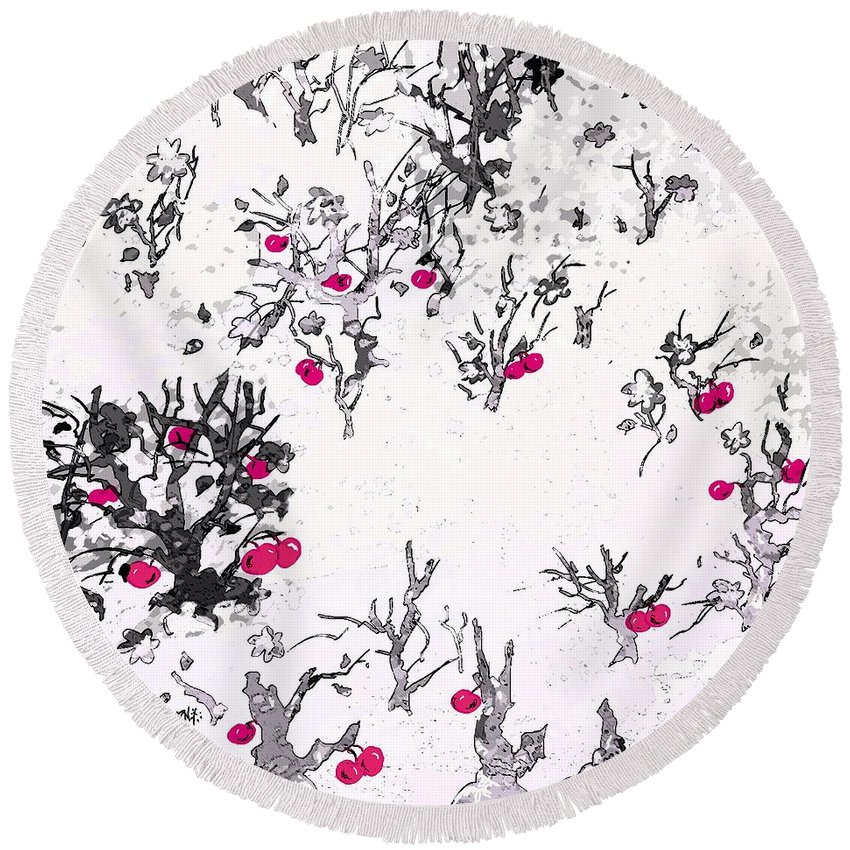 Abstract Round Beach Towel featuring the digital art White As Snow With Cherries by Rachel Christine Nowicki
