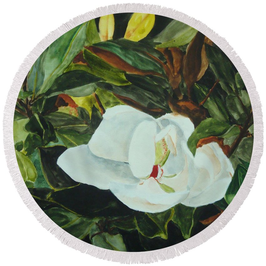 Flower Round Beach Towel featuring the painting White Beauty by Jean Blackmer