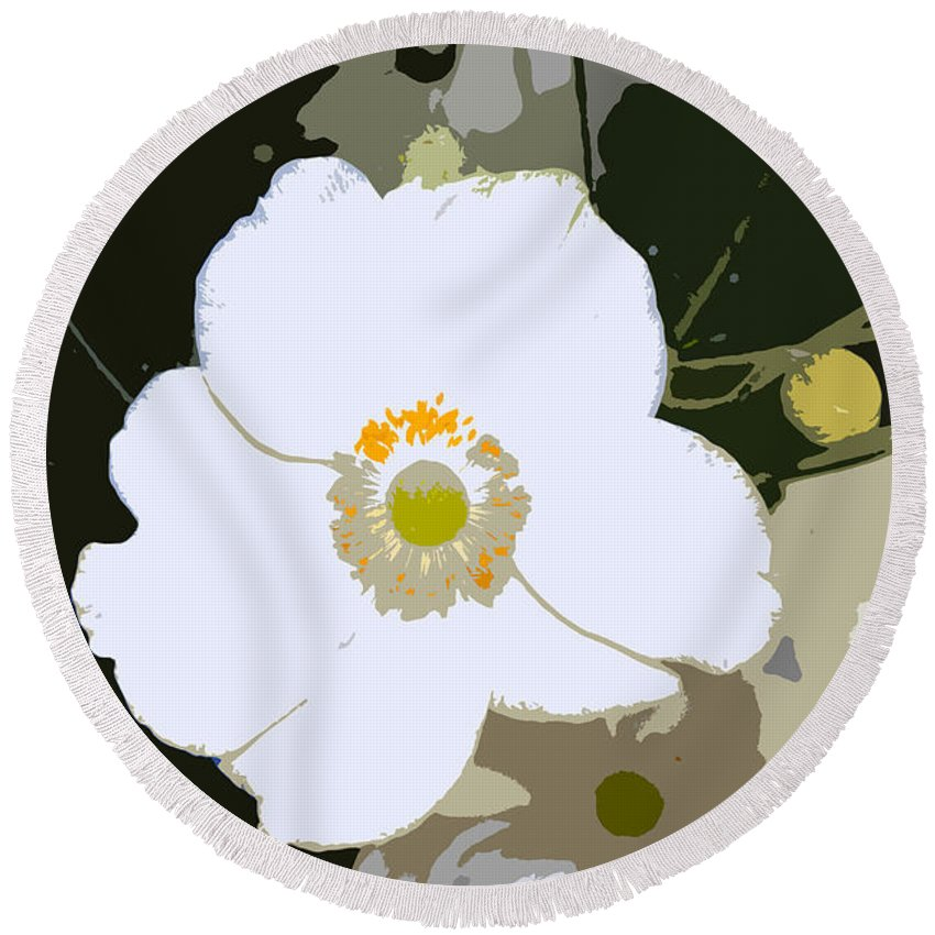 Flower Round Beach Towel featuring the photograph White Beauty Work Number 6 by David Lee Thompson