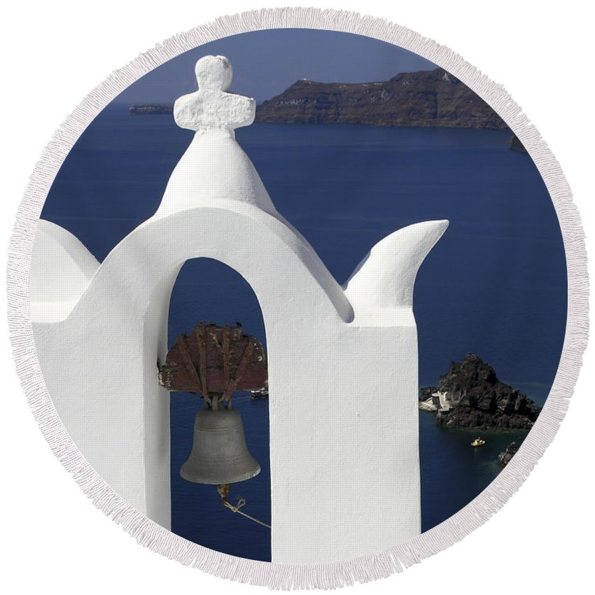 White Bell Tower Round Beach Towel featuring the photograph White Bell Tower by Sally Weigand