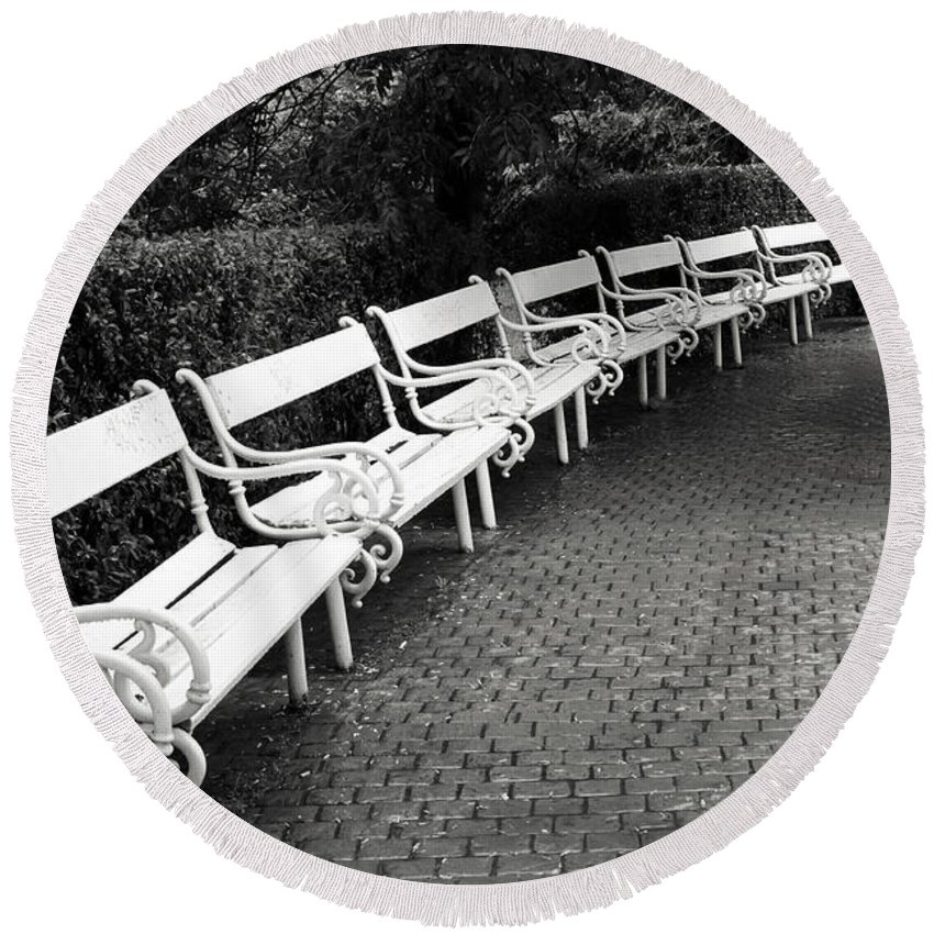Black And White Round Beach Towel featuring the photograph White Benches- By Linda Wood Woods by Linda Woods