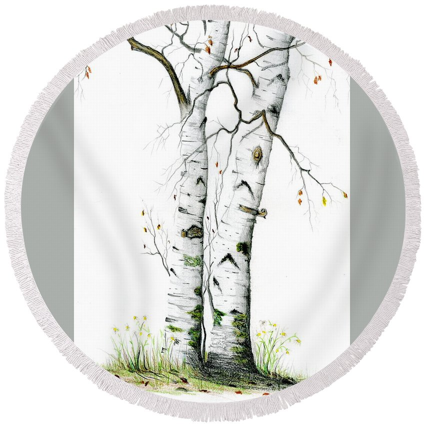 White Birch Round Beach Towel featuring the painting White Birch by Mary Tuomi