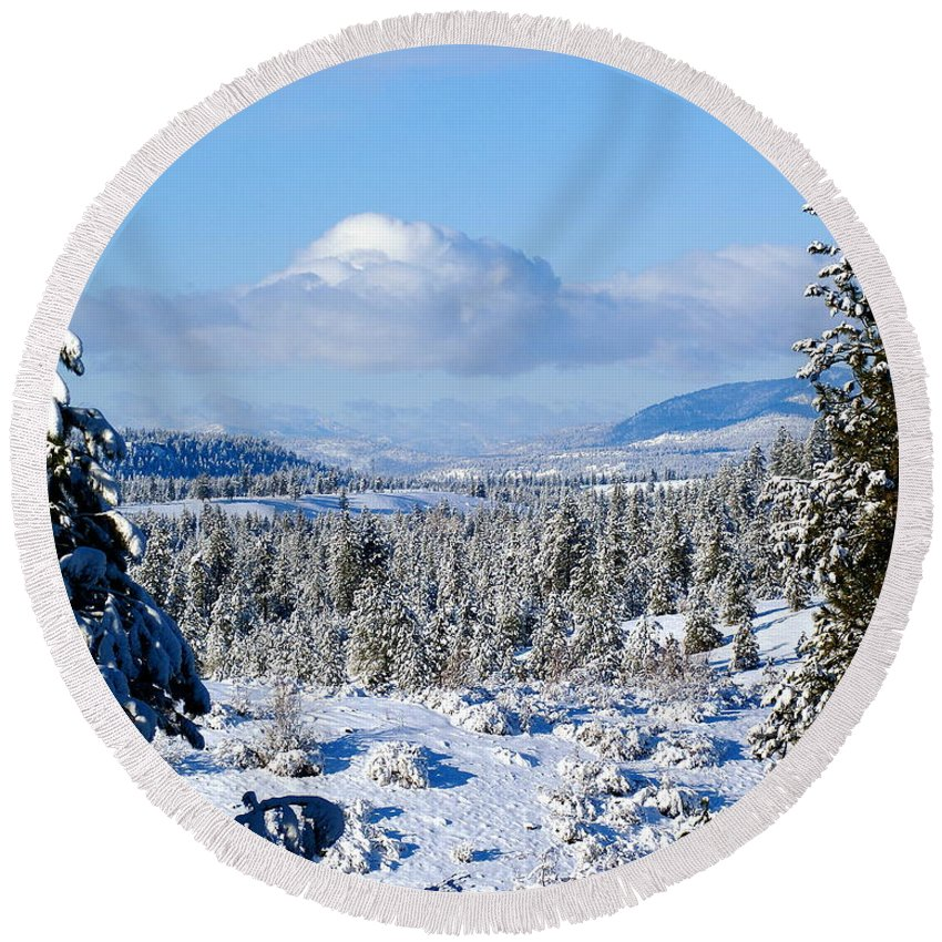 Nature Round Beach Towel featuring the photograph White Blanket by Ben Upham III