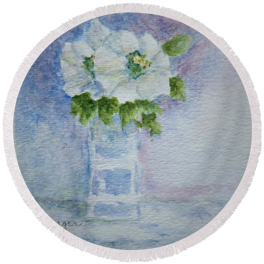 White Round Beach Towel featuring the painting White Blooms In Blue Vase by Laurie Morgan