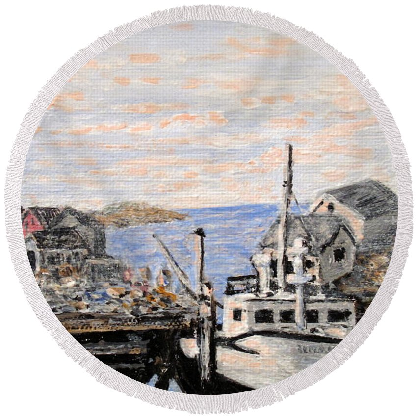 White Round Beach Towel featuring the painting White Boat In Peggys Cove Nova Scotia by Ian MacDonald