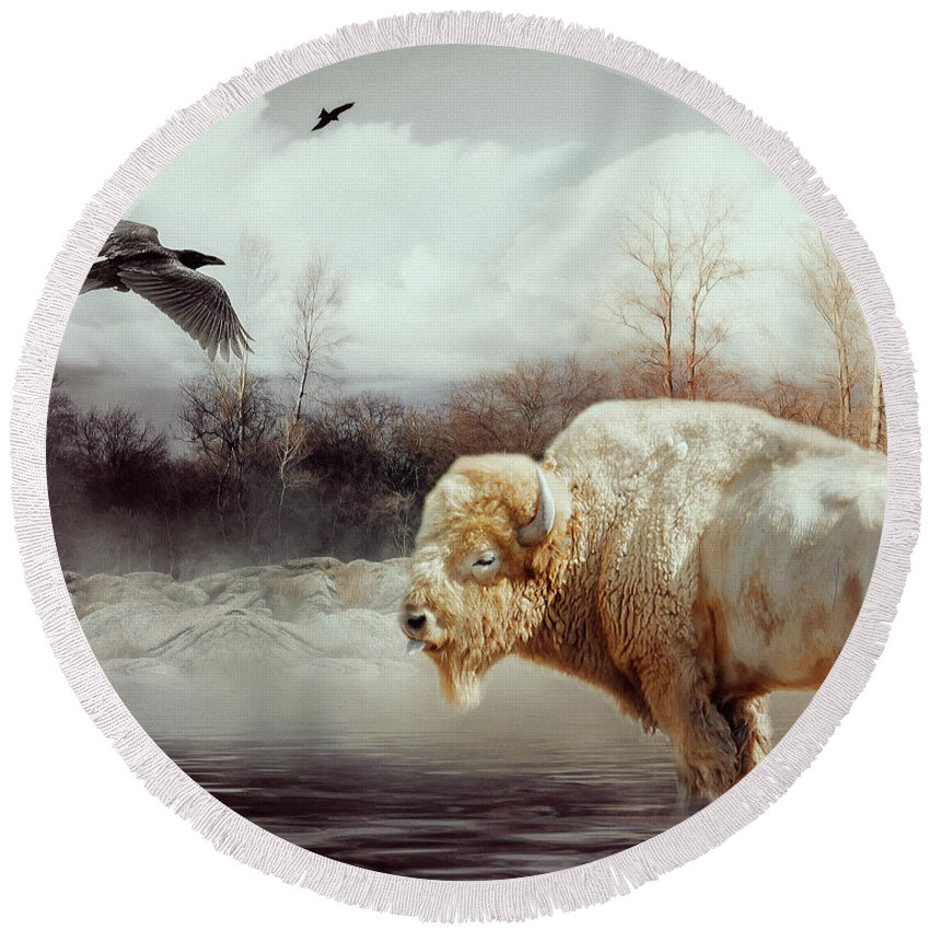 White Buffalo Round Beach Towel featuring the mixed media White Buffalo And Raven by KaFra Art