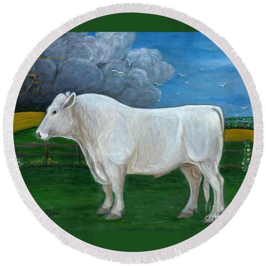 Folkartanna Round Beach Towel featuring the painting White Bull by Anna Folkartanna Maciejewska-Dyba