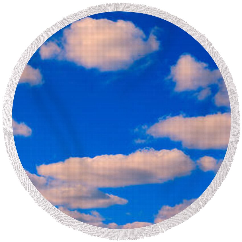 Photography Round Beach Towel featuring the photograph White Clouds In Blue Sky by Panoramic Images