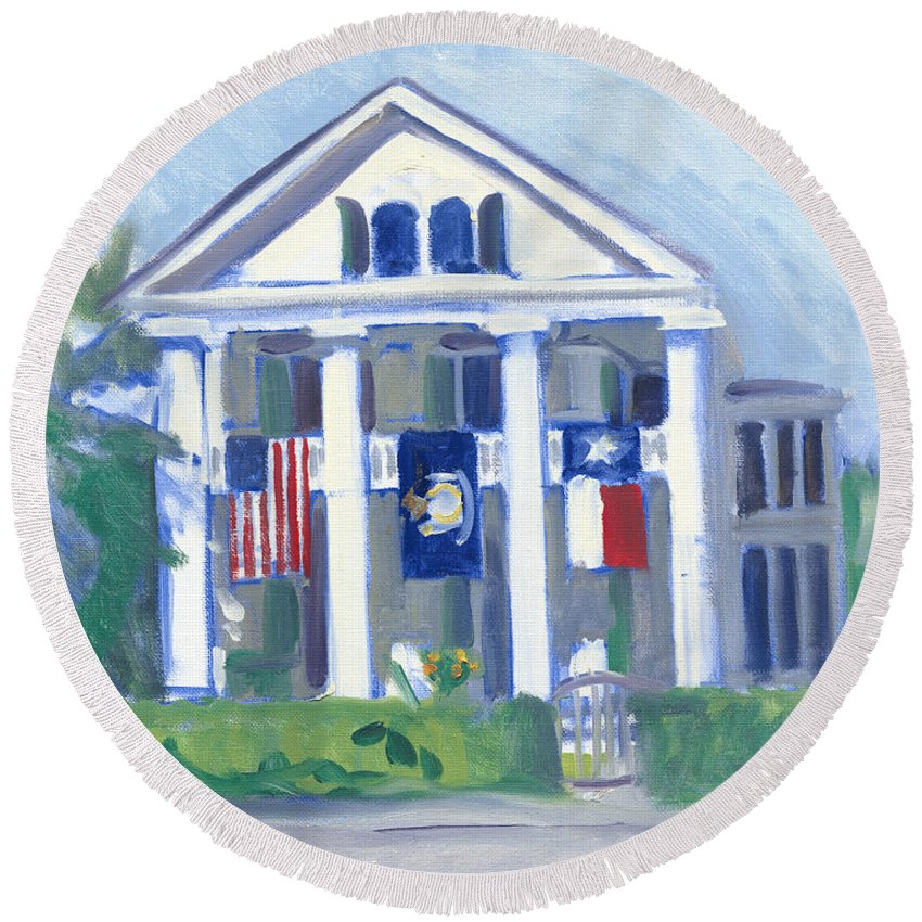 White Columns Round Beach Towel featuring the painting White Columns by Candace Lovely