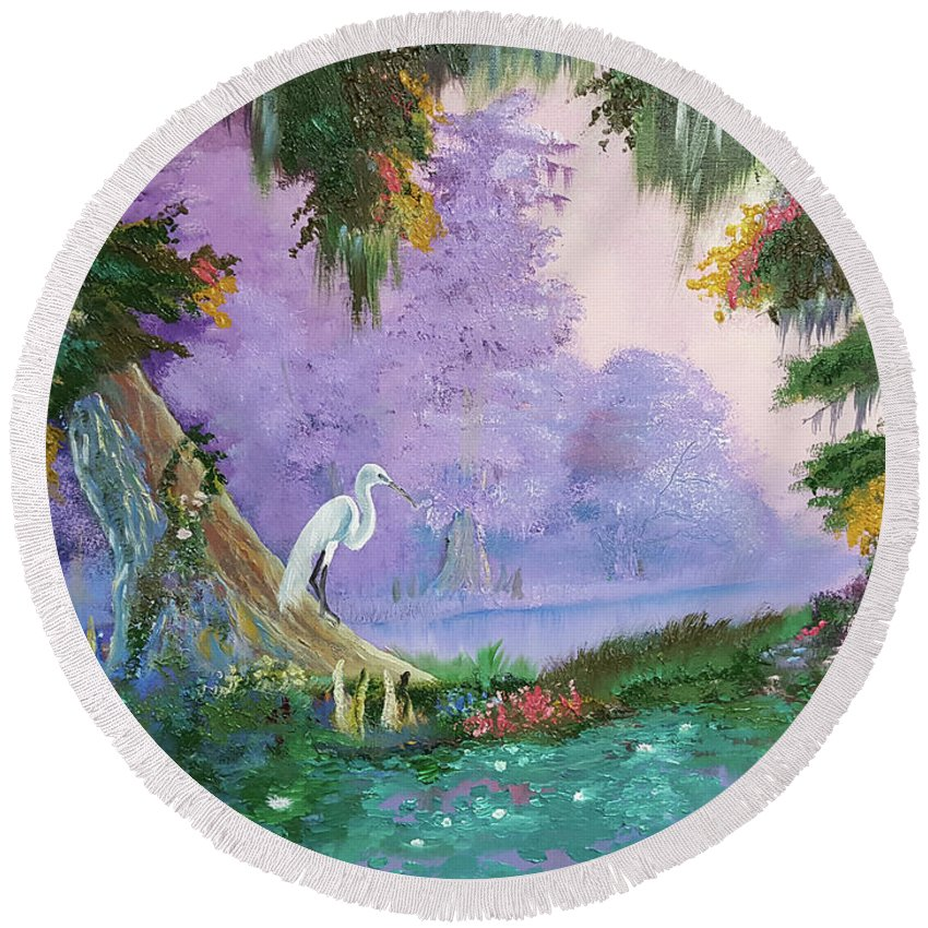 White Crane Round Beach Towel featuring the painting White Crane by Nicolas Avet