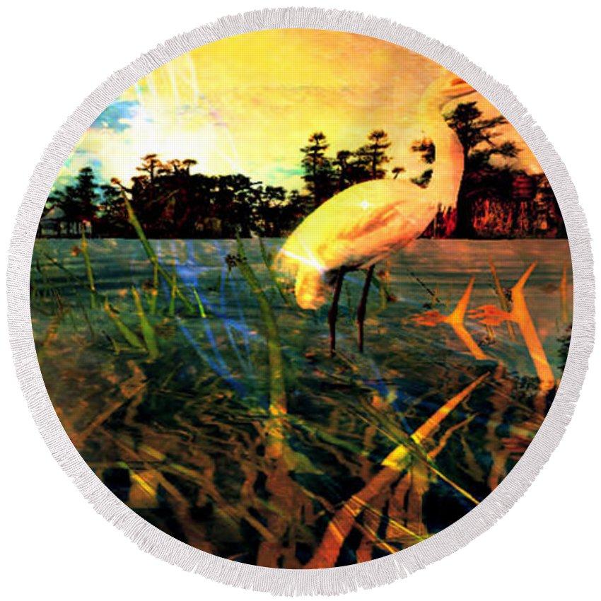 Birds Cranes Florida Lake River Seascape Landscape Gulf Marine Sunset Sunrise Round Beach Towel featuring the painting White Cranes by Jolie Lisa