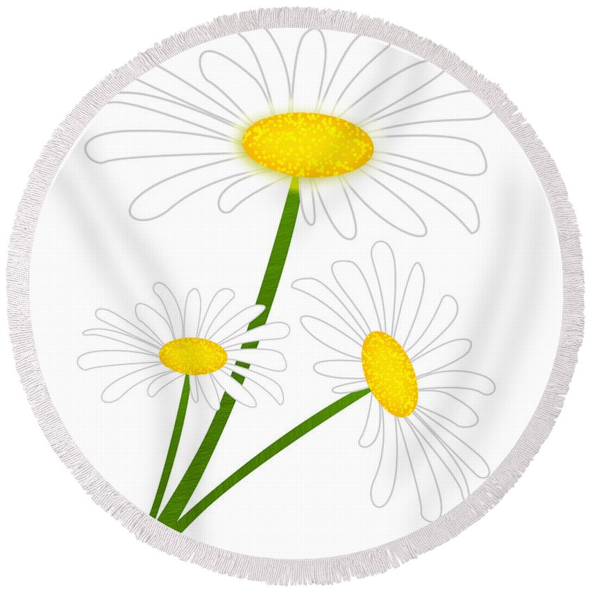 Flower Round Beach Towel featuring the digital art White Daisy by Svetlana Sewell