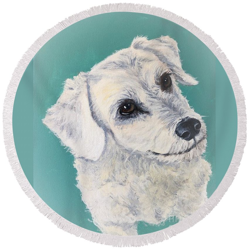 Dog Round Beach Towel featuring the painting White Dog by Charleena Treanor
