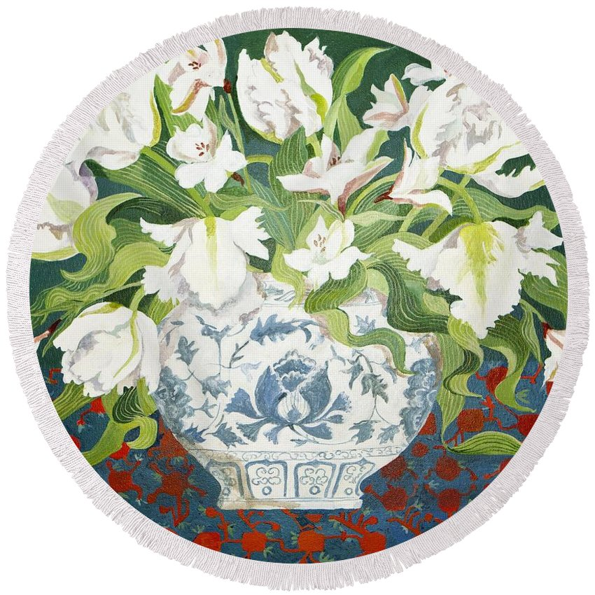 Still-life Round Beach Towel featuring the painting White Double Tulips And Alstroemerias by Jennifer Abbot