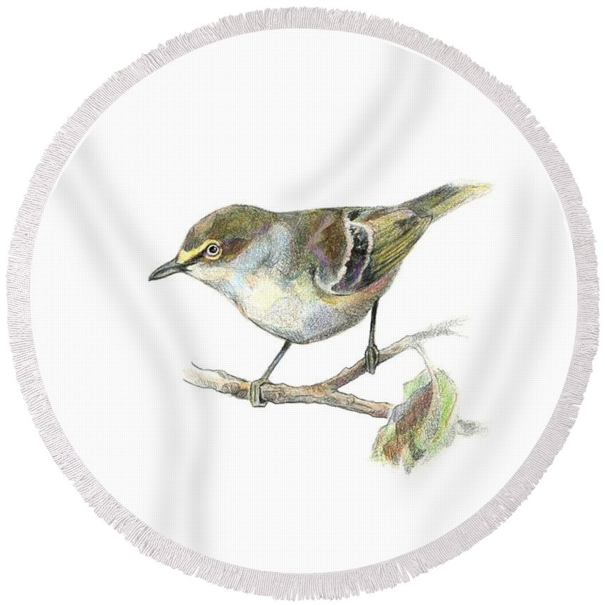 Bird Round Beach Towel featuring the drawing White-eyed Vireo by Abby McBride