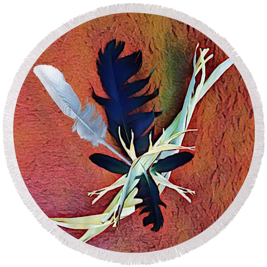 Native Round Beach Towel featuring the digital art White Feather by Rick Purtle