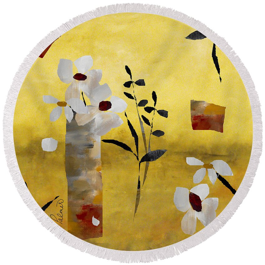 Abstract Round Beach Towel featuring the painting White Floral Collage by Ruth Palmer