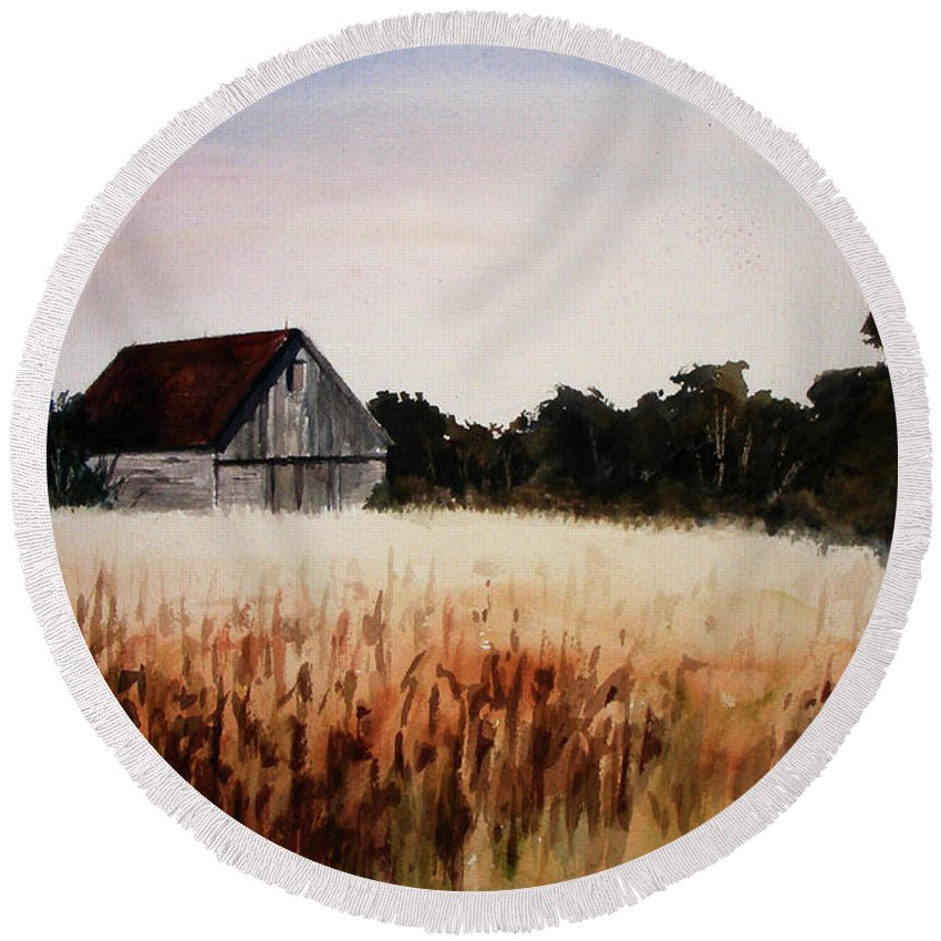 Landscape Round Beach Towel featuring the painting White For Harvest by Rachel Christine Nowicki