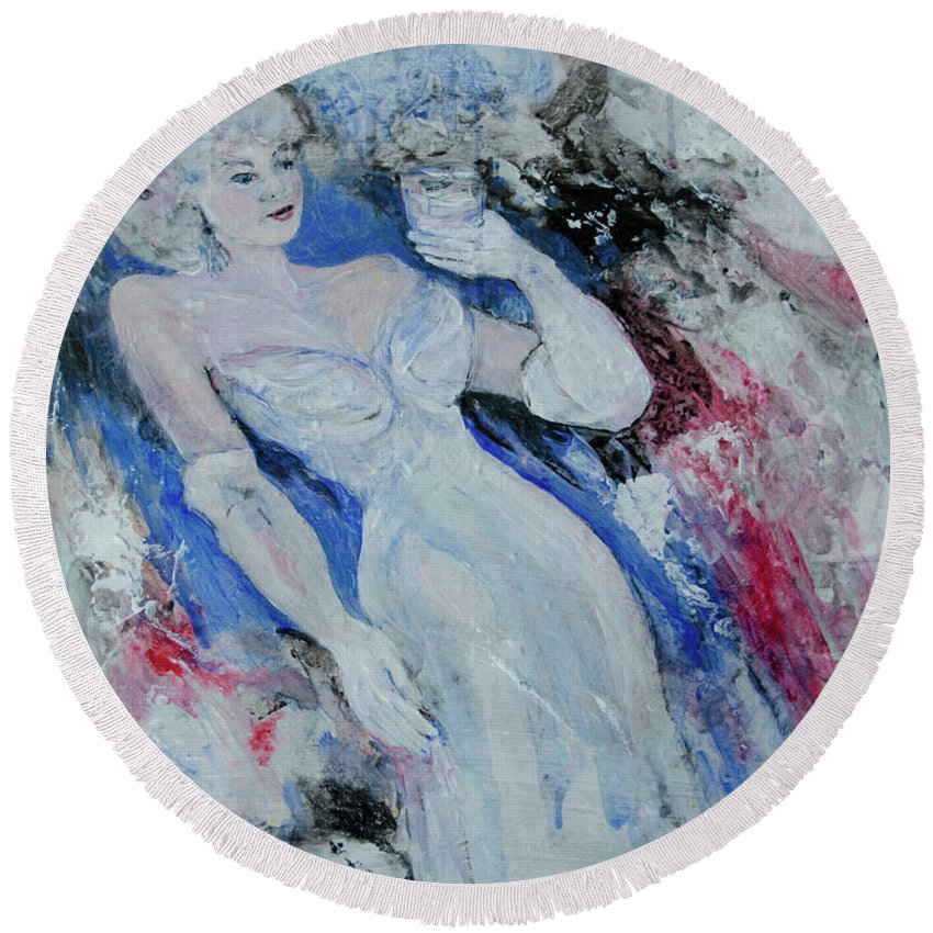 Gown Round Beach Towel featuring the painting White Gloves by Caren Keyser