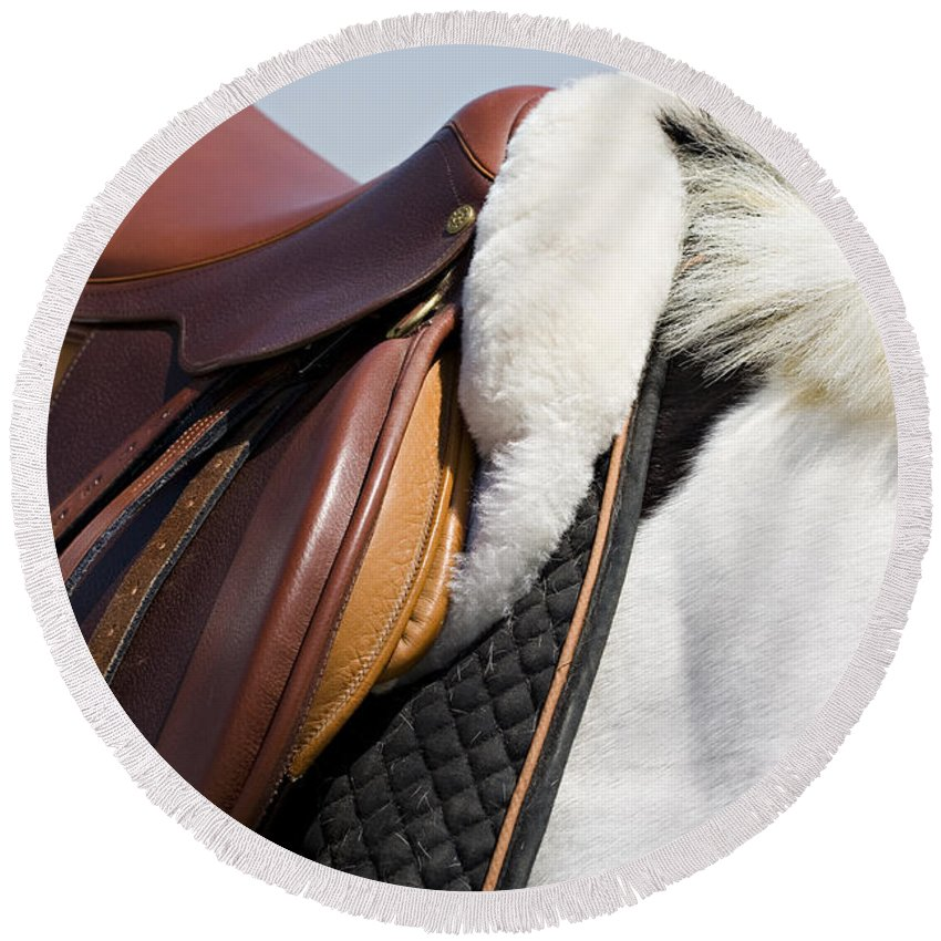 Horse Round Beach Towel featuring the photograph White Horse And Saddle by Marilyn Hunt