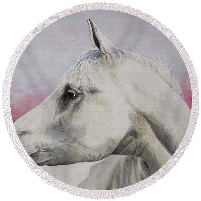 Horse Round Beach Towel featuring the painting White Horse- Arabian by Elaine Booth-Kallweit