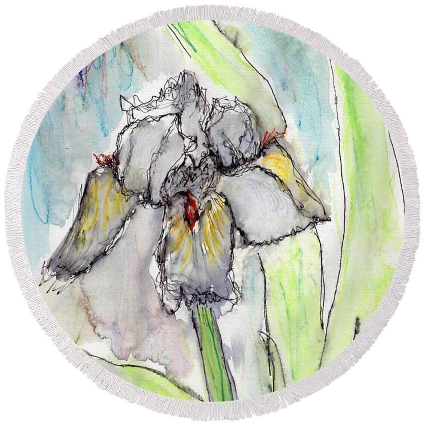 Iris Round Beach Towel featuring the painting White Iris by Christopher O'Kelley