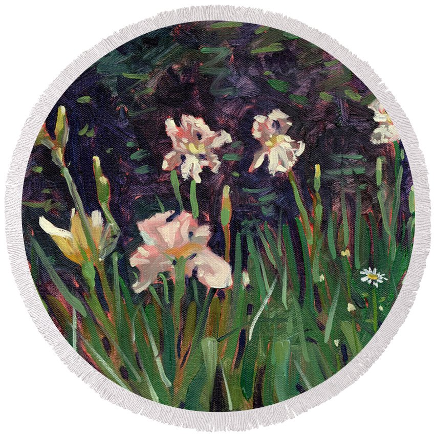Plein Air Round Beach Towel featuring the painting White Irises by Donald Maier