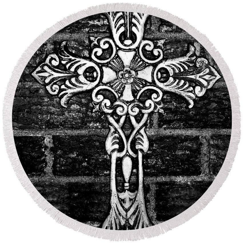 Iron Round Beach Towel featuring the photograph White Iron Cross Bw by Angelina Vick