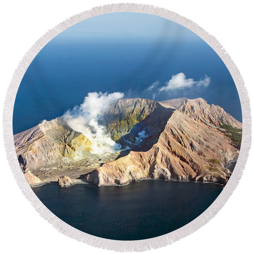 White Round Beach Towel featuring the photograph White Island by Nicholas Blackwell