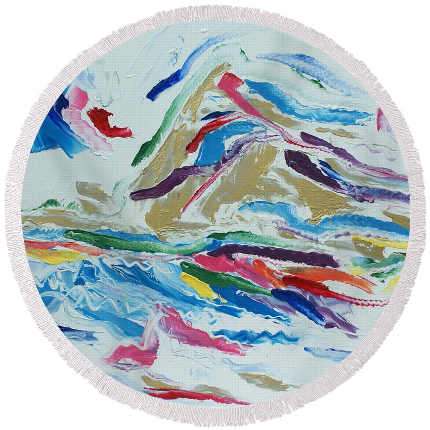 Abstract Round Beach Towel featuring the painting White Light by Christopher O'Kelley