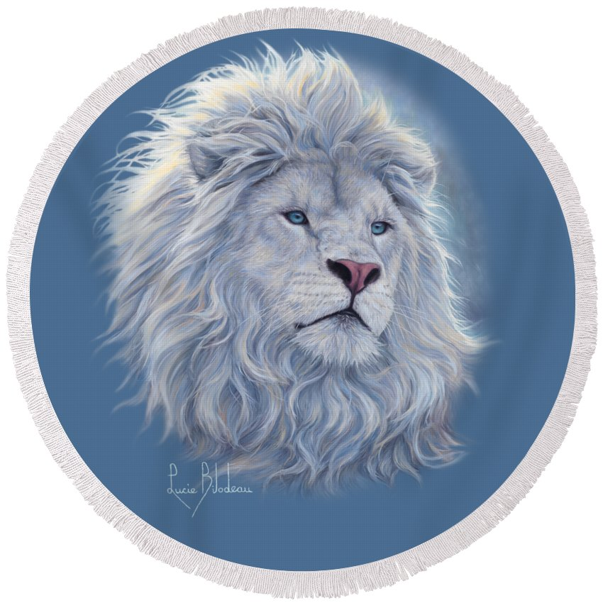 White Lion Round Beach Towel featuring the painting White Lion by Lucie Bilodeau