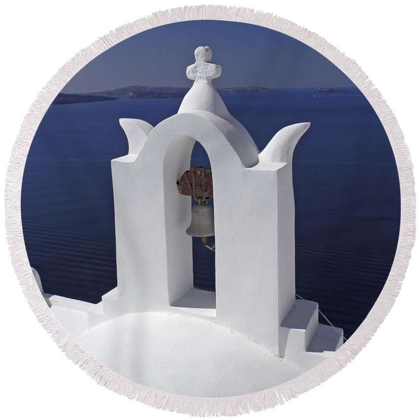 Greek Orthodox Church Round Beach Towel featuring the photograph White On Blue by Sally Weigand
