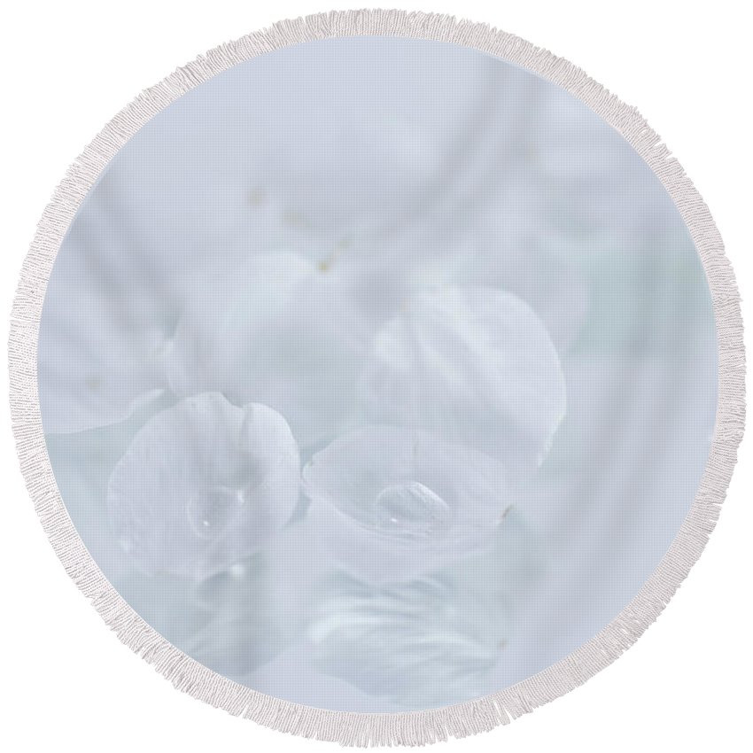 Cherry Round Beach Towel featuring the photograph White On White by Masako Metz