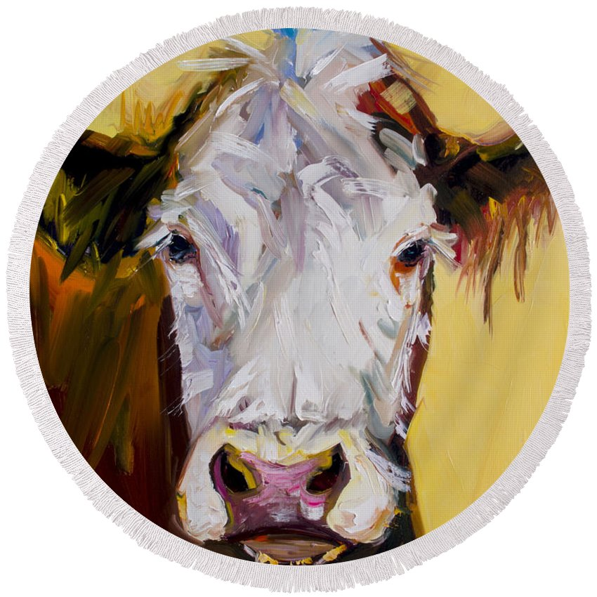 Cow Round Beach Towel featuring the painting White One by Diane Whitehead
