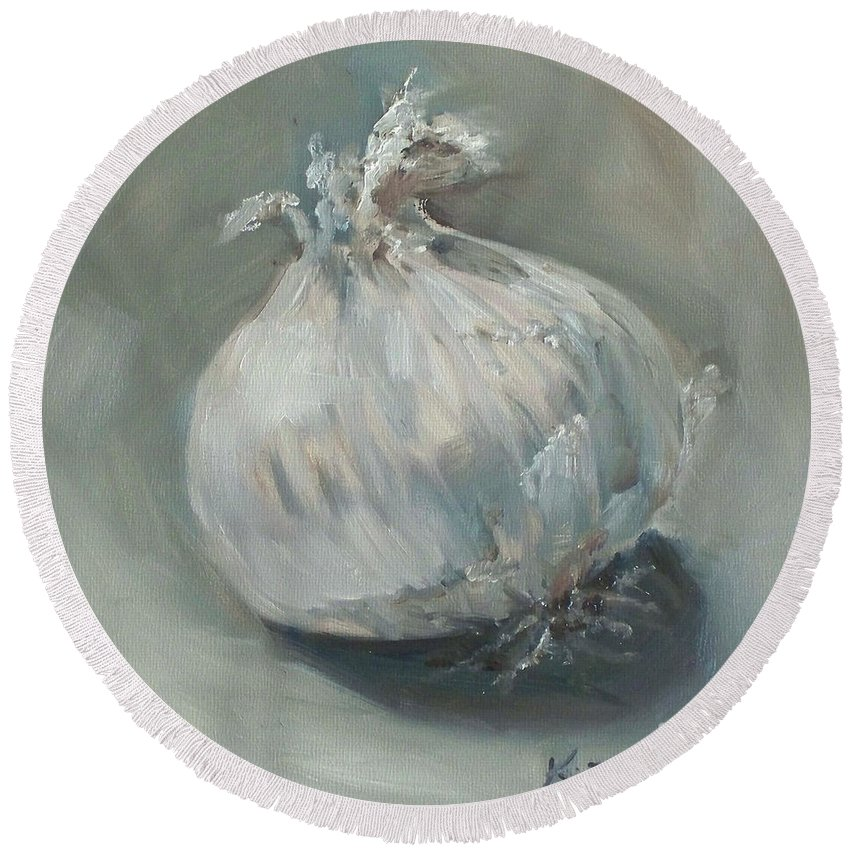 Onion Round Beach Towel featuring the painting White Onion No. 1 by Kristine Kainer