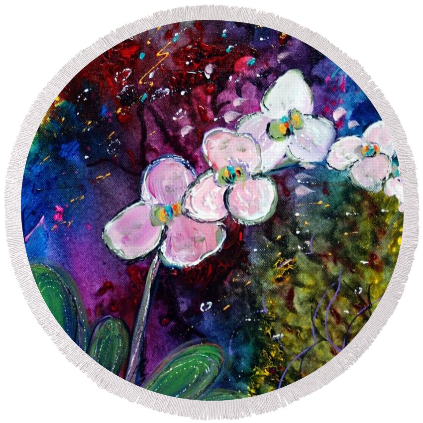 Flowers Round Beach Towel featuring the painting White Orchid by Luiza Vizoli