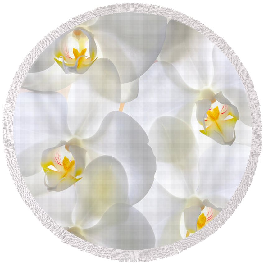 Natural Round Beach Towel featuring the photograph White Orchids by Jan Brons