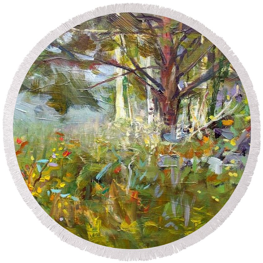 Landscape Round Beach Towel featuring the painting White Pine by Elena Sokolova