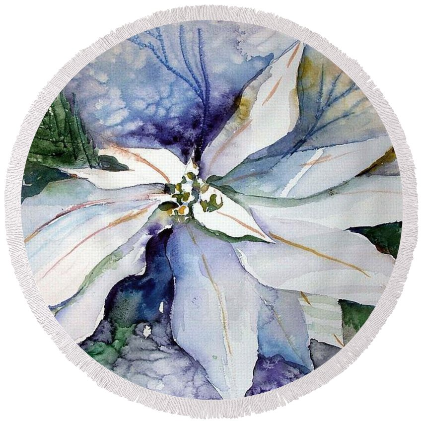 Floral Round Beach Towel featuring the painting White Poinsettia by Mindy Newman