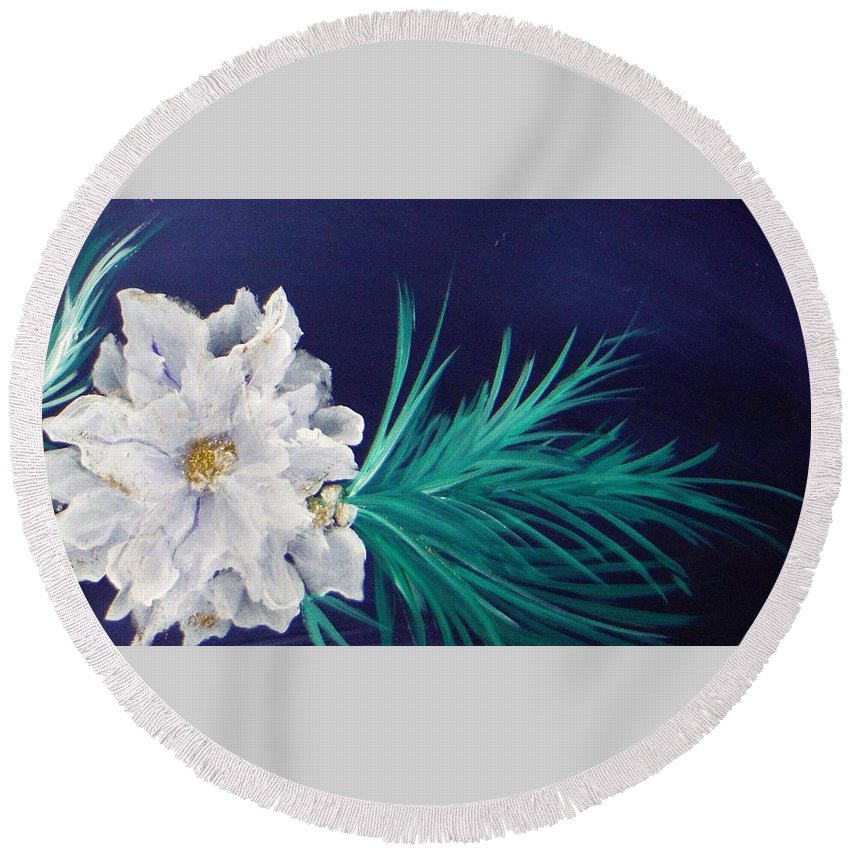 Christmascard Round Beach Towel featuring the painting White Poinsettia On Blue by Jacqueline Whitcomb