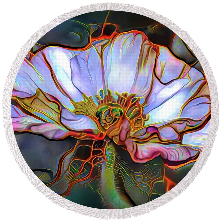 White Poppy Flower Round Beach Towel featuring the mixed media White Poppy Flower by Lilia D
