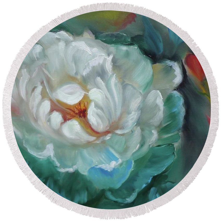 Rose Round Beach Towel featuring the painting White Rose by Jenny Lee