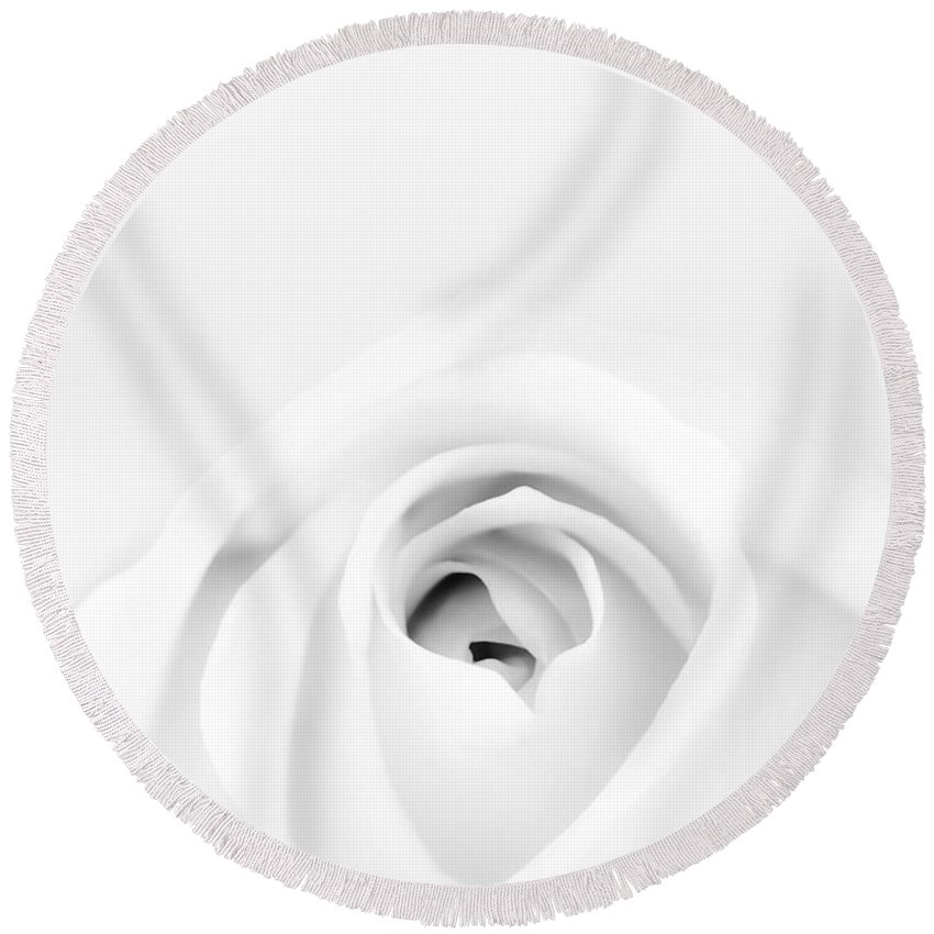 White Round Beach Towel featuring the photograph White Rose by Scott Norris